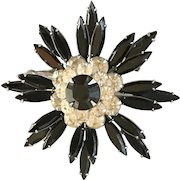 Judy Lee Black with Clear Rhinestones Brooch