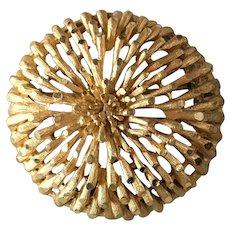 Coro Gold Tone Sunburst Style Flower Brooch