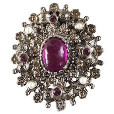 Purple Cabachon Silver Tone Sarah Coventry Brooch