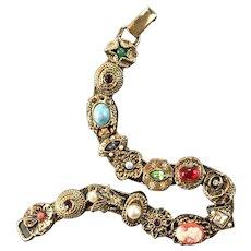 Goldette Slider Charm Bracelet 15 Charms