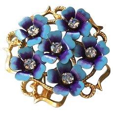 Blue Flower on Gold Tone Avon Brooch