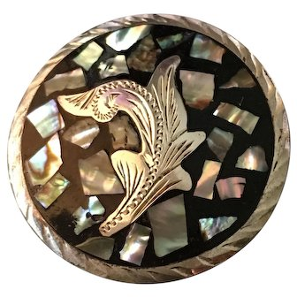 Sterling Silver Abalone In Black Enamel Leaf Design Brooch