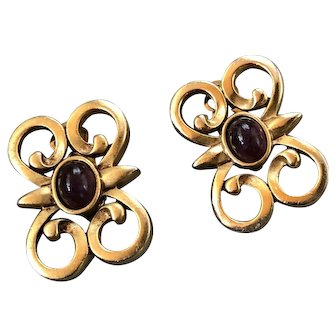 SAL Swarovski Edelweiss Gold Tone Deep Purple Stone Earrings Signed