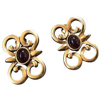 SAL Swarovski Edelweiss Gold Tone Deep Purple Stone Earrings Signed
