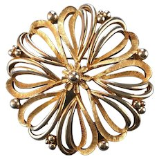 Silver and Gold Tone Flower Brooch