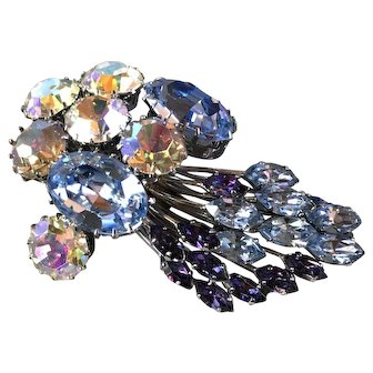 Blue and Purple with Pink Aurora Borealis Rhinestone Brooch