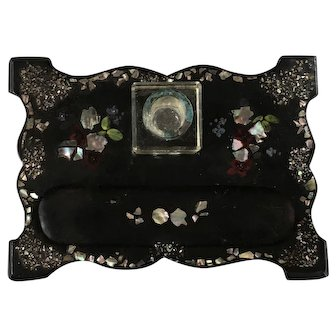 Victorian Paper Mache Mother of Pearl Ink Well Tray