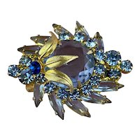 Juliana D & E Blue Rhinestone Gold Leaf Accent Brooch