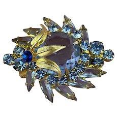 Juliana D & E Blue Rhinestone Gold Leaf Accent Brooch