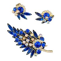 Juliana D & E Sapphire Blue and AB Leaf Brooch and Clip Earrings