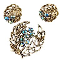 Lisner Blue AB Rhinestones on Laurel Wreath Brooch and Earring Set