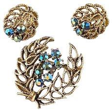 Lisner Blue AB Rhinestones on Laurel Wreath Brooch and Earring Set