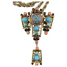 Juliana D & E Moroccan Necklace/Brooch with Chain featuring Turquoise Color Moroccan Matrix Turquoise Color