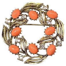 Lisner Open Leaf Wreath with Faux Coral and Rhinestones.