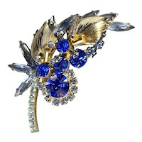 Royal Sapphire with Gold Tone Juliana D & E Brooch