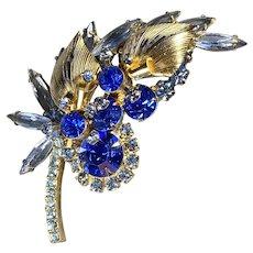 Royal Sapphire with Gold Tone Juliana D & E Brooch