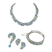 Sparkling Blue Quality Metalwork with AB and Rhinestones Parure from Lisner