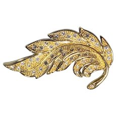 Flowing Feathery Leaf of Gold-tone Stippled Metalwork with  Clear Rhinestones from Napier