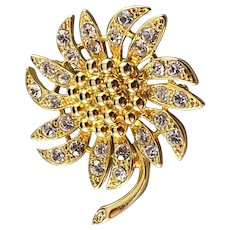 Sunflower with Shimmering Rhinestones set in gold-tone metalwork from Napier