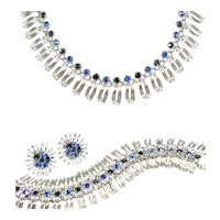 Stunning Egyptian Revival Sapphire Blue Sparkling Parure by Lisner
