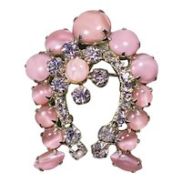Juliana D & E Horseshoe Brooch with Pink and Purple Book Piece