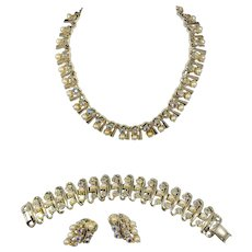 Stunning Style Parure with AB Sparkles Wrapped in Gold-tone Metalwork by BSK