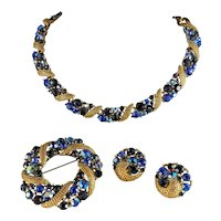Gorgeous Goldtone and Blue AB Rhinestones Demi Parure by Lisner