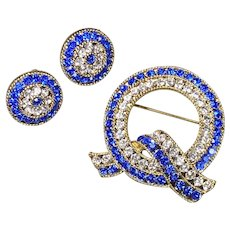Royal Blue Rhinestone Circle Brooch Demi Parure from Lisner Mid-Century