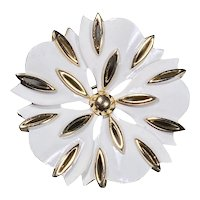 Crown Trifari White Enamel with Goldtone Trim Flower Brooch