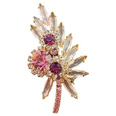 Shades of Pink Juliana D & E Brooch with Clear Light Pink and Dark Pink Brooch