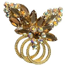 Juliana D&E Amber Clear Navettes with AB Rhinestones Brooch