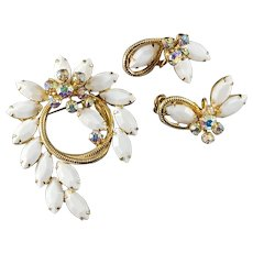 Demi Parure Juliana D & E White & AB Rhinestones Brooch with Goldtone Rope