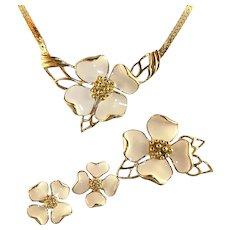 Dogwood Flower Set from Trifari - Necklace, Brooch, Pierced Earrings Vintage 80's
