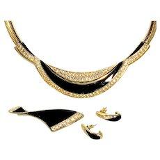 Trifari Black & Goldtone Sparkling Necklace Set - Vintage Signed