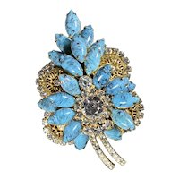 Juliana D & E Turquoise Blue And Goldtone Leaf Brooch