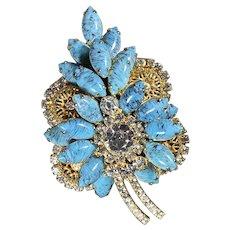 Juliana D & E Turquoise Blue And Goldtone Leaf Brooch