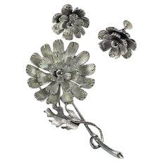 Lisner Flower Brooch and  Earrings Set