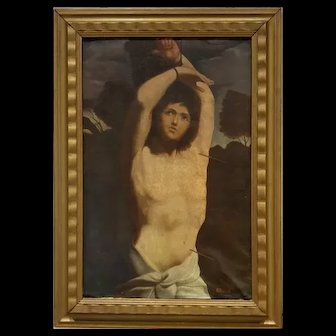Oil On Canvas XIXth Century Saint Sebastian Sign A. Primon