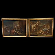 Pair Of Oils On Canvas XVII th century Renaud And Armide