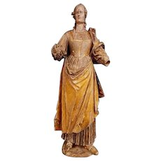 Wood carved sculpture of Saint Barbara Renaissance  begin 17 th Century -France