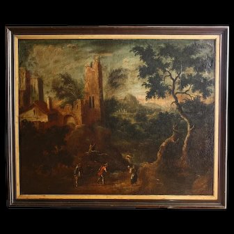 Oil On Canvas XVII Century Animated Landscape With Characters And Ruins