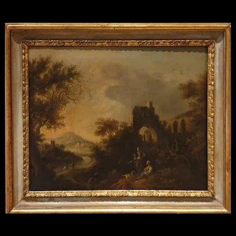 Oil painting on canvas Italian Landscape baroque XVII Century