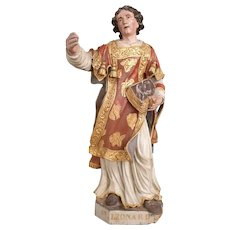 Saint Leonard Grand Sculpture Painted Wood XVII Century Baroque