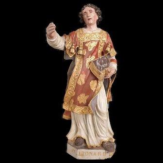 Saint Leonard Grand Sculpture Painted Wood XVII Century Baroque