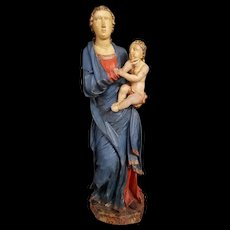 Painted Wooden Sculpture Virgin And The Child XVI Century