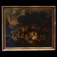 Important Biblical scene Old Testament Oil On Canvas Manna Of Heaven 17th Century-Italian-Old Master