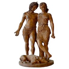 Sculpture baked clay Characters Mythological Orpheus And Euridice 19/20 Th Century