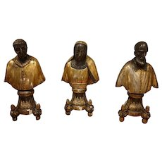 Triptych Extraordinary Busts Carved And Gilded Of Religious 17th Century - Rome