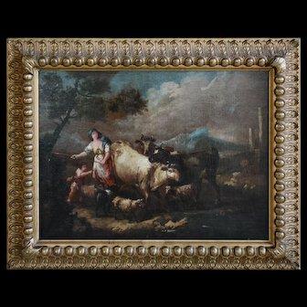 Oil On Canvas Italian Landscape 18th Century Francesco Zuccarelli 1702-1788
