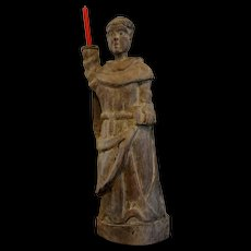 Wood carved Sculpture candleholder  Benedictine  19 th century